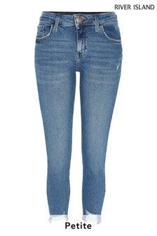 River Island Petite Amelie Jeans in authentischer Denim-Waschung mit mittelhohem Bund