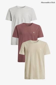 Abercrombie & Fitch Red, Grey and Gold 3 Pack T-Shirts