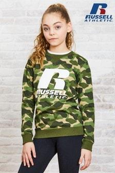 Джемпер с круглым вырезом и камуфляжным логотипом Russell Athletic (для девочек)