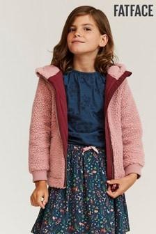 FatFace Pink Zip Through Borg Sweater