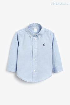 חולצת אוקספורד שלRalph Lauren בצבע כחול עם לוגו