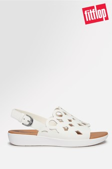FitFlop™ White Elodie Entwined Loops Leather Back Strap Sandals