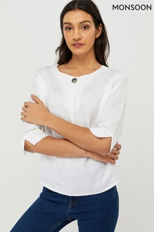 Monsoon Damen Scarlet T-Shirt, Weiß
