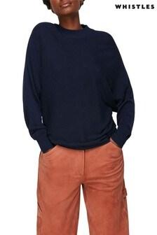 Whistles Navy Dolman Silk Mix Knit Jumper
