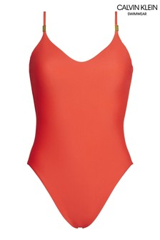 Calvin Klein Red Core Solid Swimsuit