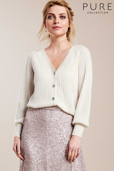 Pure Collection White Gassato Balloon Sleeve Ribbed Cardigan