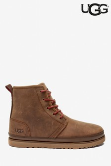 UGG® Brown Grizzly Lace-Up Harkley Boots