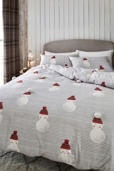 Brushed 100% Cotton Pom Snowman Duvet Cover and Pillowcase Set