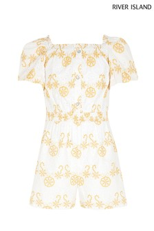 River Island White Broderie Playsuit