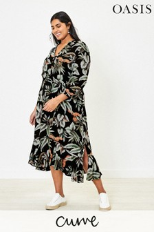 Oasis Black Curve Leaf Print Dress