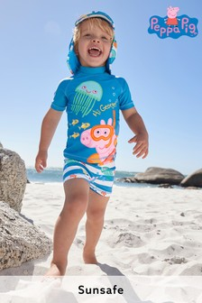 Blue George Pig Sunsafe Rash Vest And Shorts Set With Hat (3mths-7yrs)