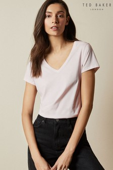 Ted Baker Pink Emyila V-Neck Loose Fitted T-Shirt
