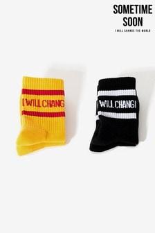 Набор черных и желтых носков Sometime Soon (2 пары)