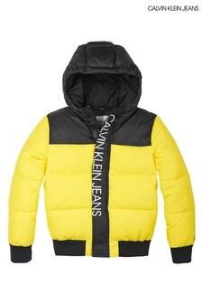 Calvin Klein Wattierte Jacke mit Blockfarben, Gelb
