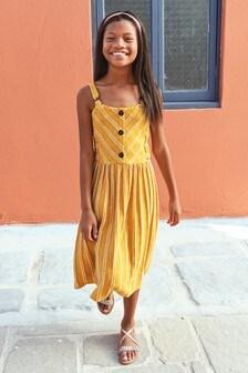 Фактурное платье миди в полоску (3-16 лет)