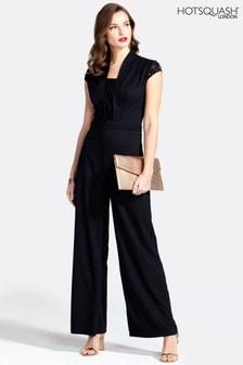 Hotsquash Black Crepe Jumpsuit With Lace Detail (219681) | $165