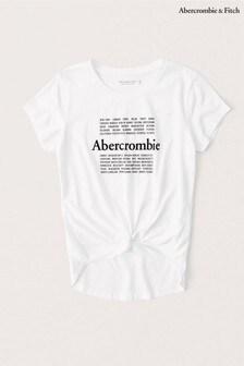 חולצת טי לבנה שלAbercrombie & Fitch עם כיתובLong Life
