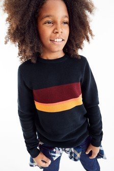 Chest Stripe Knitted Jumper (3-16yrs)