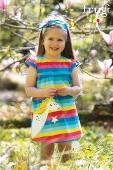 שמלה בדוגמת קשת בענן מג'רזי עם אפליקציית חד קרן של Frugi GOTS