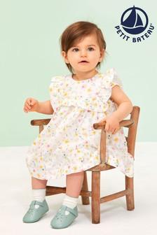 Платье с принтом желтого цвета и оборками Petit Bateau
