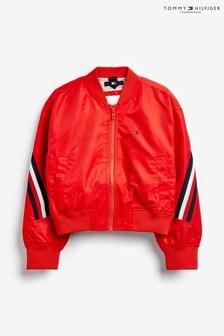 Tommy Hilfiger Red Global Stripe Bomber Jacket