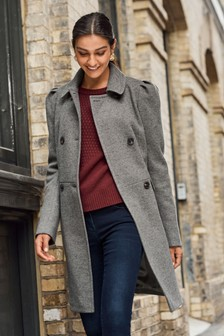 Puff Sleeve Double Breasted Coat