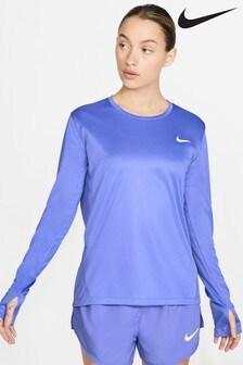 Haut de course Nike Miler violet à manches longues