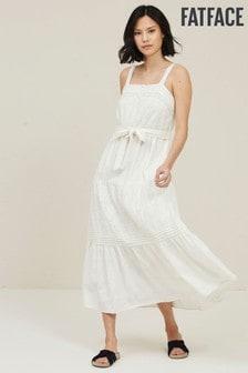 FatFace Nita Kleid mit Lochstickerei, Weiß