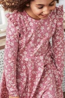 Polarn O. Pyret Kleid aus GOTS-zertifizierter Baumwolle mit Blütenmuster, Pink/Orange