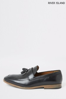 River Island Black 7615 Trigger Vamp Loafers