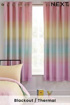 Cortinas opacas con ojales y diseño sombreado arcoíris