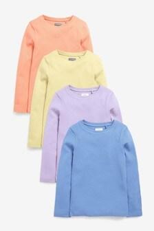 Набор футболок пастельных оттенков в рубчик с длинным рукавом (4 шт.) (3-16 лет)