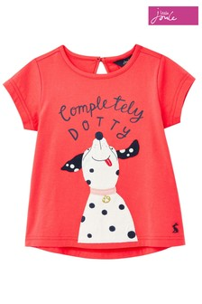 Joules Red Dotty Dog Maggie Appliqué Top