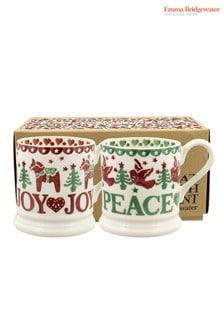 Set of 2 Emma Bridgewater Christmas Joy Half Pint Mugs