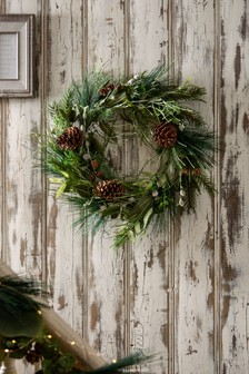 Forest Foliage Unlit Wreath (221558)   $50
