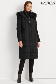 Lauren Ralph Lauren® Quilted Maxi Faux Fur Trim Coat