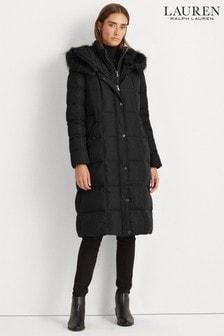 Lauren Ralph Lauren® Gesteppter, langer Mantel mit Webpelzbesatz