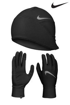 Комплект черного цвета с шапкой и перчатками Nike