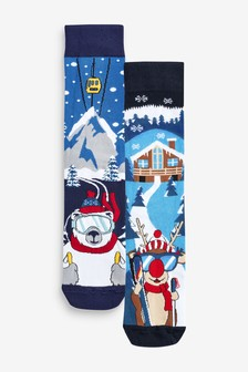 Christmas Novelty Reindeer Ski Socks Two Pack