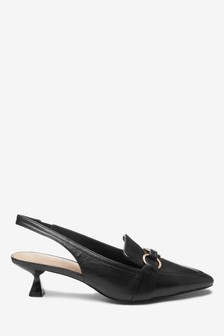 Leather Hardware Kitten Heel Slingbacks