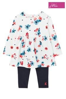 Joules Christina Posey Bedrucktes Kleid und Leggings, Weiß