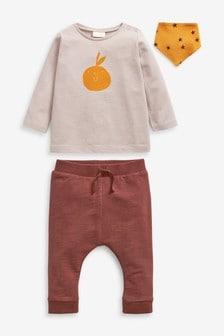 Комплект из 3 предметов с футболкой, штанами и слюнявчиком (0 мес. - 2 лет)