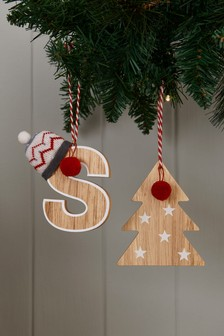 Set of 2 Wooden Monogram Baubles