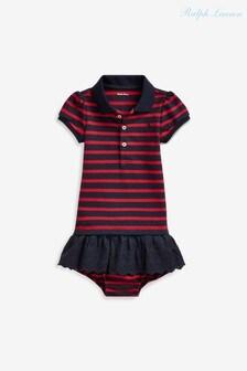 Ralph Lauren Red/Navy Striped Polo Dress