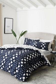Granatowy komplet 100% bawełny: poszwa na kołdrę i poszewka na poduszkę w kropki