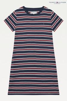 Tommy Hilfiger Kleid mit gestreifter Rippung, Weiß