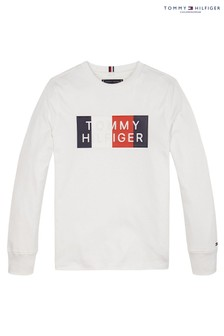 Tommy Hilfiger White Global Stripe Graphic Long Sleeve T-Shirt