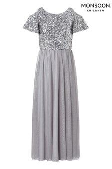 Нарядное серебристое платье с разрезами на плечах Monsoon Jacinta