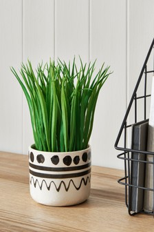 Artificial Grass Plant in Ceramic Pot