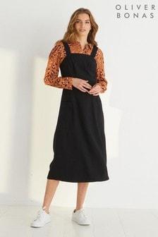 Oliver Bonas Black Luxe Midi Pinafore Dress